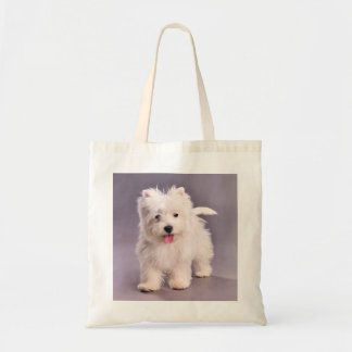 Westie puppy tote bags