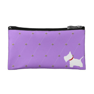 Westie Purple Diamonds Makeup Bag