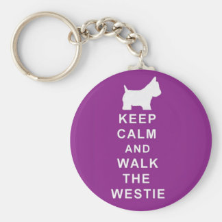 Westie purple keyring birthday christmas present basic round button key ring