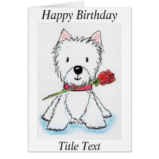 Westie rose birthday card friend mum etc