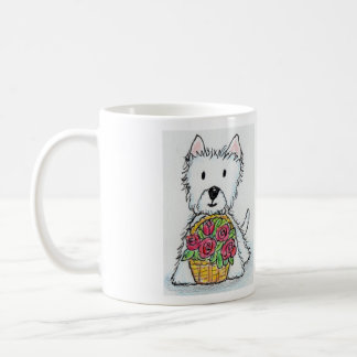 Westie roses Bag Birthday Christmas friend etc. Basic White Mug