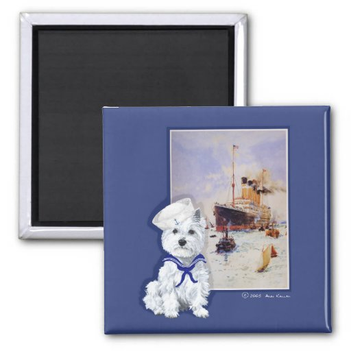 Westie Sailor and Travel Poster Magnet