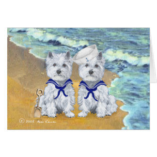 Westie Sailor Twins at the Beach Greeting Card