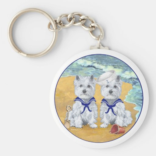 Westie Sailor Twins at the Beach Keychains