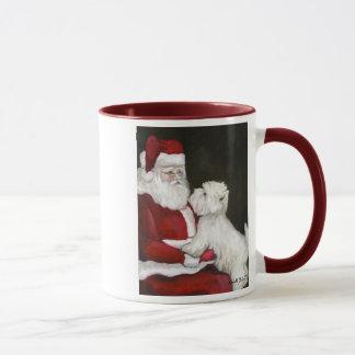 """Westie & Santa"" Dog Art Reproduction Mug"