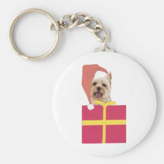 Westie Santa Hat Gift Box Key Ring
