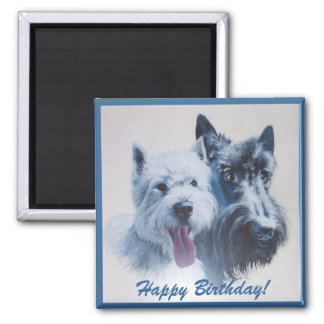 Westie & Scottie Birthday Magnet: Template Square Magnet