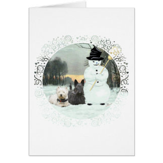 Westie & Scottie Build a Snowman Greeting Card