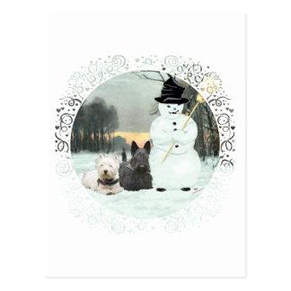 Westie & Scottie Build a Snowman Post Cards