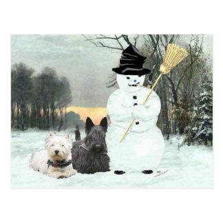 Westie & Scottie Build a Snowman Postcard