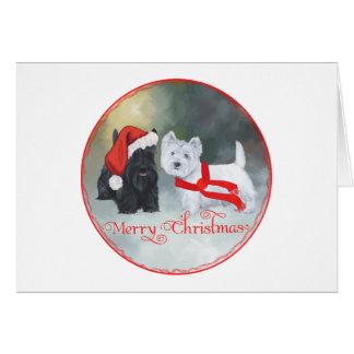 Westie Scottie Christmas Card
