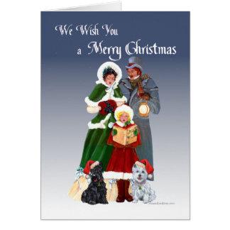 Westie & Scottie Christmas Carols Greeting Card