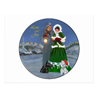 Westie & Scottie Christmas Carols Postcard