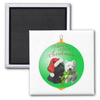 Westie Scottie Christmas Ornament Fridge Magnet