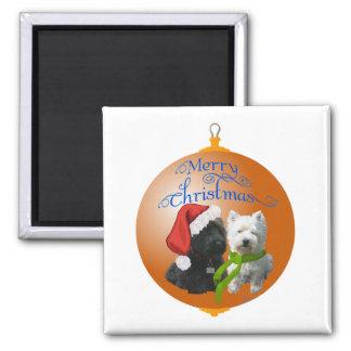 Westie Scottie Christmas Ornament Fridge Magnets