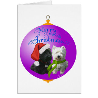 Westie Scottie Christmas Ornament Greeting Card