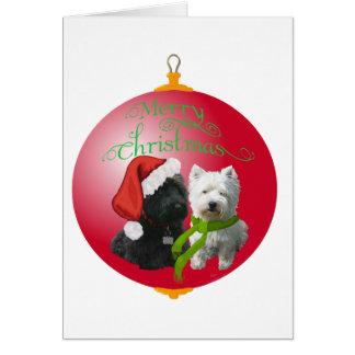 Westie Scottie Christmas Ornament Greeting Card