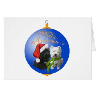 Westie Scottie Christmas Ornament Greeting Cards