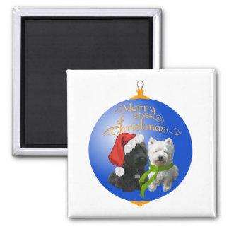 Westie Scottie Christmas Ornament Magnets