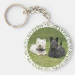 Westie & Scottie Green Grass Basic Round Button Key Ring