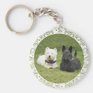 Westie & Scottie Green Grass Key Ring