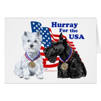 Westie & Scottie Hooray for USA Greeting Card