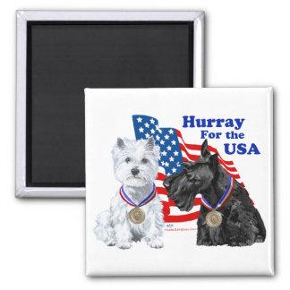Westie & Scottie Hooray for USA Magnets