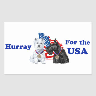 Westie & Scottie Hooray for USA Rectangular Sticker