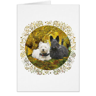Westie & Scottie in Autumn Card