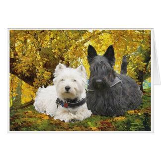 Westie & Scottie in Autumn Greeting Card