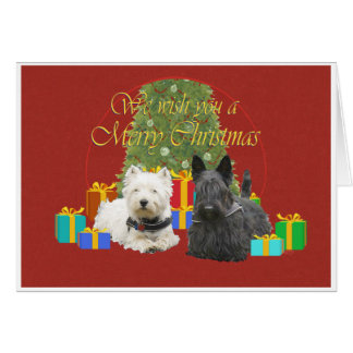 Westie & Scottie Merry Christmas Greeting Cards