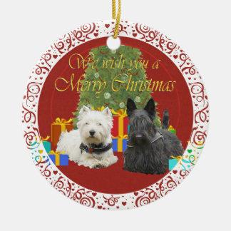 Westie & Scottie Merry Christmas Christmas Ornament