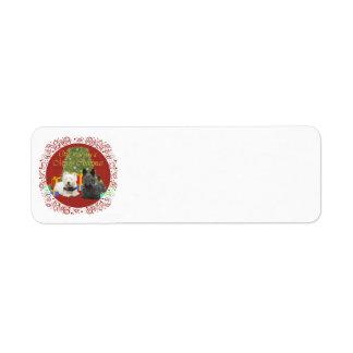 Westie & Scottie Merry Christmas Return Address Label