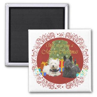 Westie & Scottie Merry Christmas Square Magnet