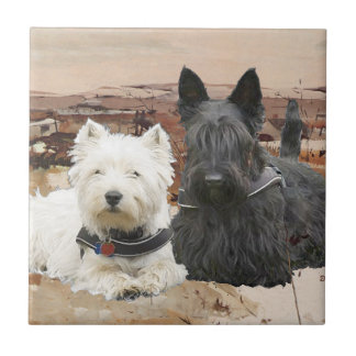 Westie & Scottie Together Autumn Tile