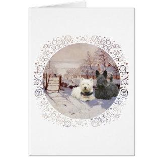 Westie & Scottie Winter Magpie Greeting Card