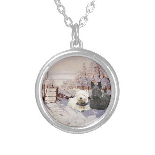 Westie & Scottie Winter Magpie Custom Necklace