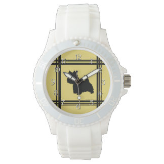 Westie Silhouette on Yellow Wristwatch