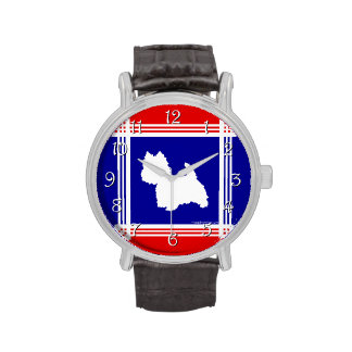 Westie Silhouette Red, White, Blue Watches