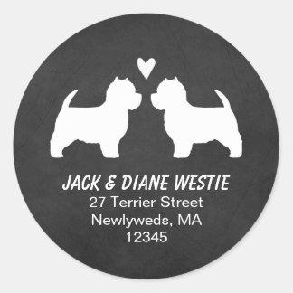 Westie Silhouettes Return Address Round Sticker