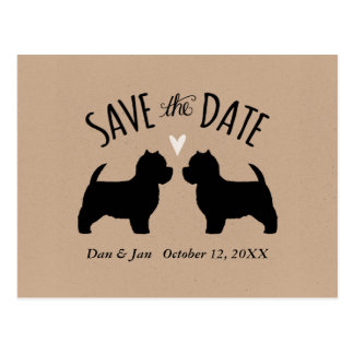 Westie Silhouettes Wedding Save the Date Postcard
