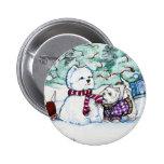 Westie Snowman Pinback Buttons