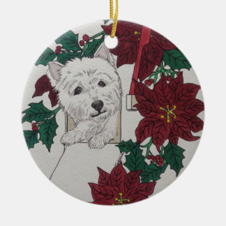 Westie Special Delivery For the Holidays Round Ceramic Decoration