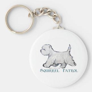 Westie Squirrel Patrol Basic Round Button Key Ring
