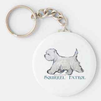 Westie Squirrel Patrol Key Ring