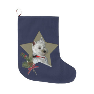 WESTIE, STAR OF CHRISTMAS LARGE CHRISTMAS STOCKING