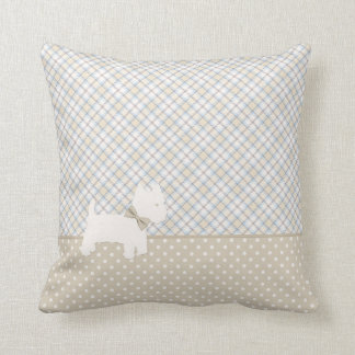 Westie Tartan and Polka Dots Neutral Colors Throw Pillow