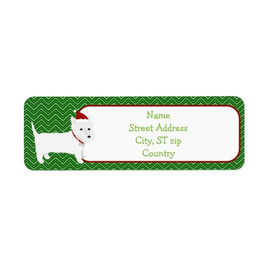 Westie Terrier Santa Hat Return Address Label