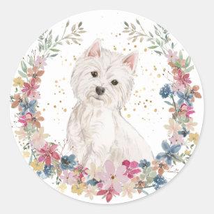 Westie Terrier Spring Flowers Wreath Classic Round Sticker