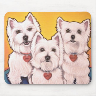 Westie trio mouse mat